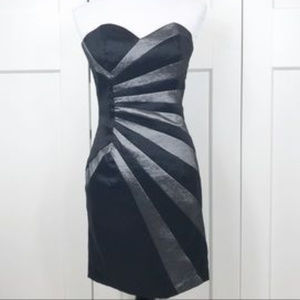 Silver Sunburst Black Hourglass Strapless Dress